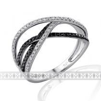 Pretis Luxusní diamantový zlatý prsten posetý černými diamanty 109ks