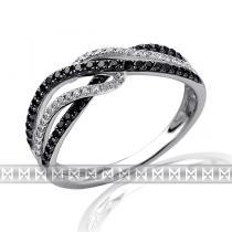 Pretis Luxusní mohutný zlatý diamantový prsten s černými diamanty 78ks