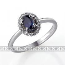 Pretis Luxusní diamantový zlatý prsten s velkým modrým safírem KATE