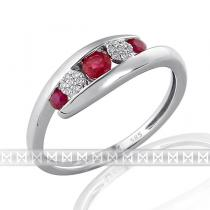 Pretis Luxusní dámský prsten z bílého zlata posetý diamanty a červenými rubíny 3x0,29ct