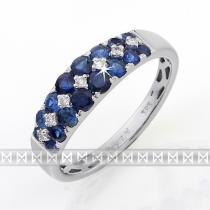 Pretis Luxusní diamantový prsten z bílého zlata s diamanty a modrými safíry