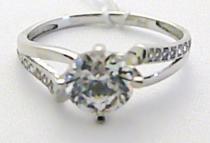 Pretis Mohutný velký dámský zásnubní prsten z bílého zlata 585/1,55gr P440