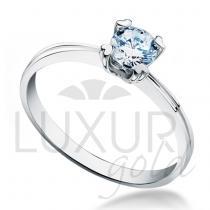 Pretis Luxusní zásnubní prsten z bílého zlata osazený velkým modrým zirkonem 5mm 2,1gr