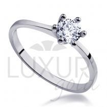 Pretis Mohutný zásnubní prsten z bílého zlata osazený velkým zirkonem 585/1,82gr