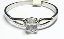 Pretis Zásnubní zlatý prstýnek z bílého zlata s velkým zirkonem 585/0,92gr P152