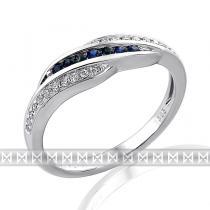 Pretis Nádherný diamantový prsten posetý diamanty a modrými safíry 585/2,65gr
