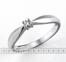 Pretis Luxusní zásnubní prsten z bílého zlata osazený diamantem 0,05ct 1,95gr