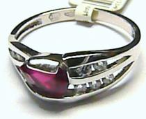 Pretis Mohutný dámský prsten z bílého zlata se zirkony a červeným rubínem P159