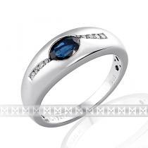 Pretis Mohutný zlatý prsten z bílého zlata s diamanty a modrým safírem 585/3,6gr