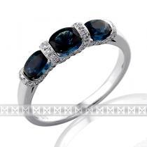 Pretis Diamantový prsten z bílého zlata 3ks velkých modrých safírů 3x1,14 ct 585/2,43gr