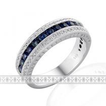 Pretis Diamantový prsten z bílého zlata posetý diamanty 60ks a modrými safíry 13ks