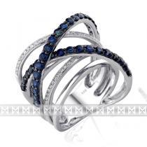 Pretis Diamantový zlatý prsten z bílého zlata s diamanty a modrými safíry 36ks/1,87ct