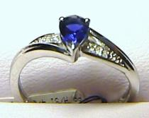 Pretis Diamantový prsten z bílého zlata s velkým modrým safírem 585/2,0g safír 0,49ct