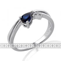 Pretis Diamantový prsten se safírem 1ks 0,56ct modrý safír