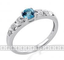 Pretis Zásnubní prsten s diamantem, bílé zlato briliant, modrý topaz