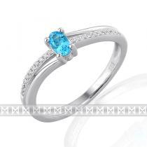 Pretis Luxusní diamantový zlatý prsten s modrým topazem