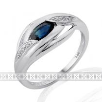 Pretis Prsten s diamantem, bílé zlato briliant, safír 3861918-0-54-92