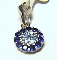 Pretis Krásný zlatý přívěsek z bílého zlata posetý modrými zirkony 585/0,52gr P234