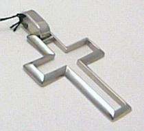 Pretis Velký mohutný zlatý křížek z bílého zlata 585/1,50gr 2,8x2,0mm P336