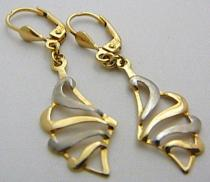 Pretis Dámské luxusní zlaté visací náušnice z bílého a žlutého zlata 585/2gr P436
