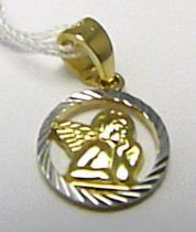 Holan Jaroslav Krásný zlatý anděl v bílém a žlutém zlatě andělíček 585/0,80gr H271