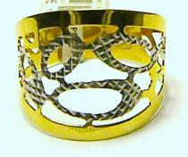 Pretis Mohutný velký široký zlatý prsten z bílého a žlutého zlata 585/1,04gr v. 53 P119