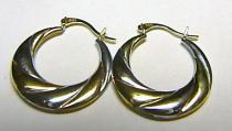 Pretis Luxusní velké zlaté kruhy z bílého a žlutého zlata 585/1,00gr P151 kombinace