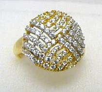 Holan Jaroslav Luxusní obrovský zlatý dámský prsten posetý zirkony 80ks 585/4,04gr H237