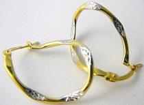 Pretis Luxusní mohutné velké zlaté kruhy s gravírováním 585/1,30gr P458