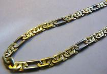 Marcello Diamant Pánský mohutný silný zlatý náramek ze žlutého a bílého zlata 585/5,6gr 22cm T117