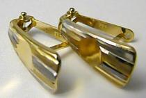 Pretis Velké mohutné zlaté náušnice z bílého a žlutého zlata 585/1,45gr P405