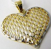 Holan Jaroslav Mohutné velké zlaté srdíčko z dvojího zlata bílé a žluté 585/1,32gr H503