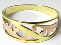 Zlatokov Mohutný silný velký prsten z dvojího zlata 585/1,86gr Z079