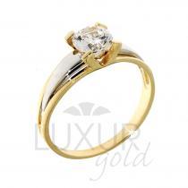 Pretis Luxusní lesklý mohutný zásnubní prstýnek z kombinace zlata