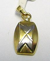 Pretis Zlatý přívěsek z bílého a žlutého zlata s gravírováním 585/0,60gr P382