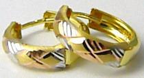 Pretis Dámské zlaté kruhy z dvojího zlata bílé a žluté 585/1,12gr P424