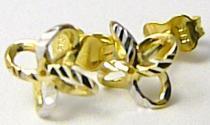 Pretis Zlaté náušnice z bílého a žlutého zlata pecičky na puzetku 585/0,92gr P427