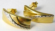 Pretis Velké mohutné zlaté náušnice v kombinaci zlata na puzetku 585/1,30gr P430