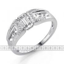 Pretis Prsten s diamantem, bílé zlato briliant, černý briliant