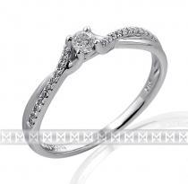 Pretis Luxusní moderní zásnubní diamantový prsten z bílého zlata 1/0,09 ct + 22/0,6ct