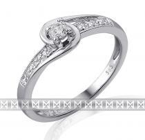 Pretis Mohutný zásnubní diamantový prsten z bílého zlata 1/0,09 ct + 6/0,03 ct 585/2,15