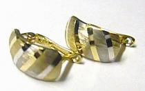 Pretis Dámské zlaté velké dvoubarevné půlkroužky náušnice 585/1,20gr P216