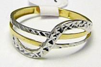 Holan Jaroslav Dámský prsten z bílého a žlutého zlata s gravírováním 585/1,14gr H361