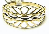 Pretis Mohutný velký široký zlatý prsten z bílého a žlutého zlata 585/1,32g P120