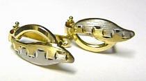 Pretis Luxusní mohutné vícebarevné zlaté náušnice bílé a žluté AU 585/1,35gr P128
