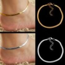 Náramek na nohu Snake stříbrná, zlatá NKn353