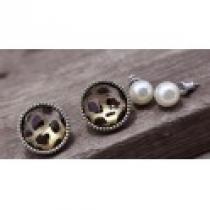 Tygrované náušnice + náušnice perly NE071