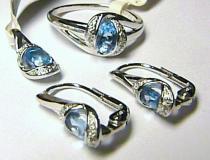 Pretis diamantová zlatá souprava s diamanty Blue topaz