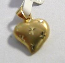 Pretis zlatý přívěsek s rytinou - srdíčko 585/0,57gr P039