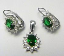 stříbrná souprava se zelenými smaragdy a zirkony 925/1000 A012